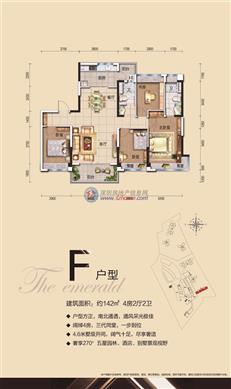 碧桂园·翡翠山(大亚湾)F户型 四房及以上 142㎡