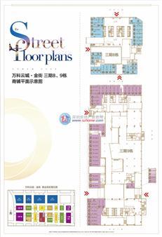 万科云城金街三期8、9栋商铺户型图
